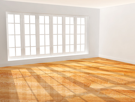 wood floor: Empty room with new parquet floor