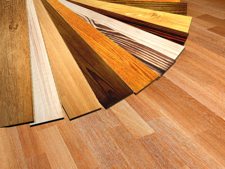 New oak parquet of different colors. 3d render Archivio Fotografico