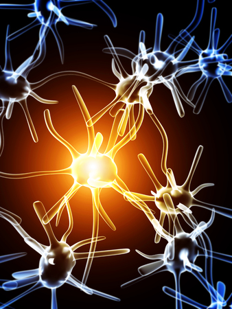 human brain: Impulses of neurons. On black background Stock Photo