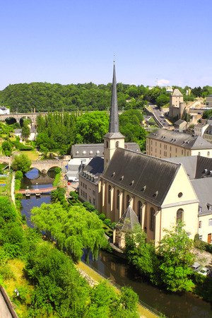 commune: Top view of Commune and town Larochette in central Luxembourg, canton of Mersch Stock Photo
