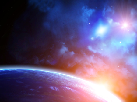 A beautiful space scene with sun, planets and nebula