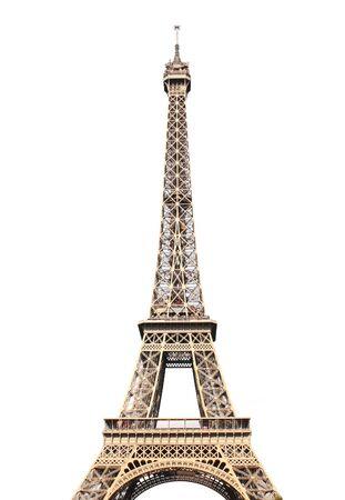 파리에서 유명한 에펠 탑입니다. 흰 배경에 고립