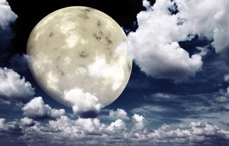 calmness: Bright moon in the night sky. Elements of this image furnished by NASA Stock Photo