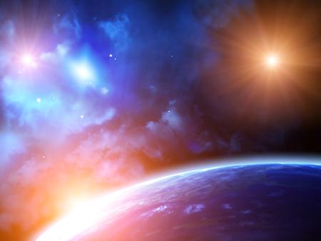 Een mooie ruimte scène met zon, planeten en nevel