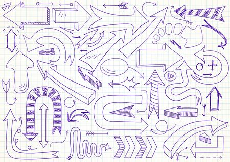 be: Collection of 61 different vector doodle arrows. Can be used for web design