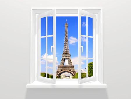 에펠 탑, 파리에서 열린 창 및보기 스톡 콘텐츠