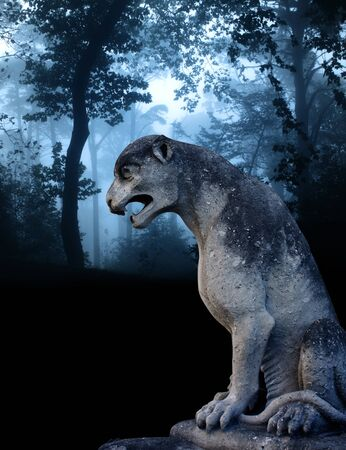 ancient lion: Ancient lion statue and mysterious landscape of foggy forest
