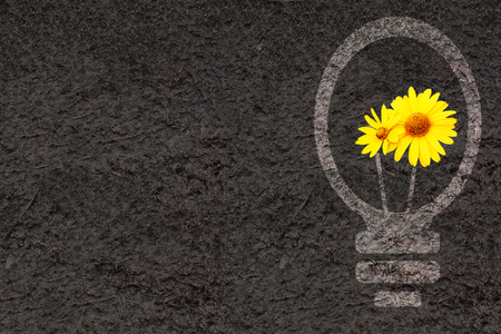 turf flowers: Horizontal eco background with flowers, soil and light bulb silhouette