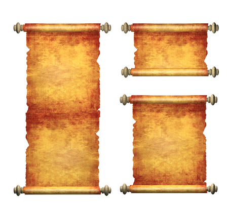 Collection of old parchments. Isolated on white background