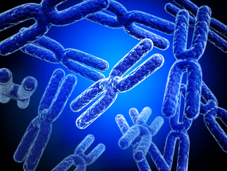 cells biology: X chromosome on abstract blue background