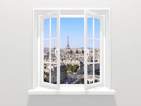 Geopende raam en uitzicht op de Eiffeltoren en Parijs Stockfoto