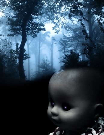 babie: Vintage evil spooky doll and mysterious landscape of foggy forest