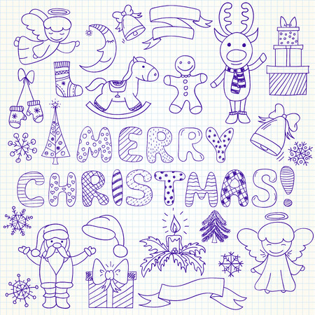 cartoon child: Set of vector Christmas characters and ornaments in doodle style (included snowflakes; hat; gift; Santa Claus; deer; mistletoe; angels; bells; sock; candle; toy, deer; pine; mistletoe; angels; rocking horse, gingerbread man, crescent, mittens). Can be use Illustration