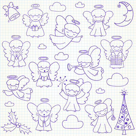 Set of vector Christmas angels and ornaments in doodle style (included xmas tree;  mistletoe; angels; bell;  pine; crescent, gift). Can be used for xmas or winter design Illustration