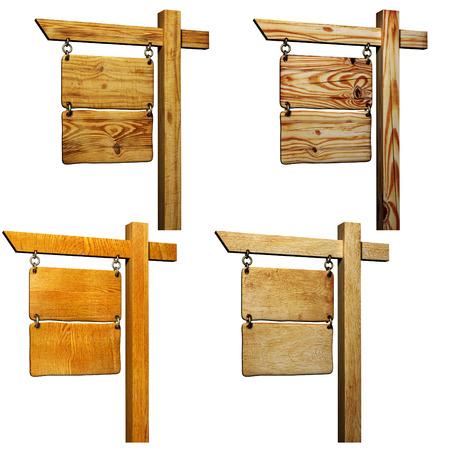 letreros: Colección de letrero de madera. Objetos aislados sobre fondo blanco