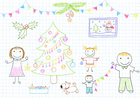 mom and dad: Happy family - mom, dad and two children decorates Christmas tree. Sketch on notebook page