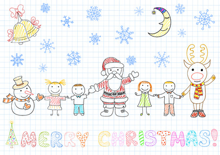 notebook page: Vector drawings - Santa Claus and children. Sketch on notebook page in doodle style
