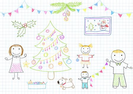 mom dad: Feliz familia - madre, padre y dos hijos decora el árbol de Navidad. Boceto en la página portátil