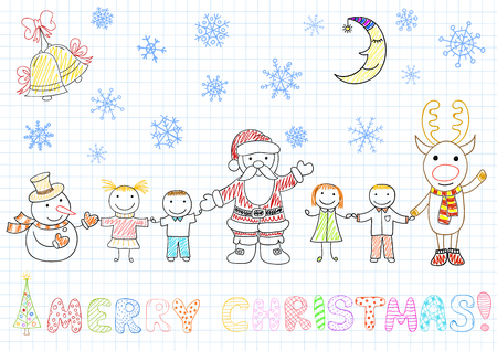 arrival: Vector drawings - Santa Claus and children. Sketch on notebook page in doodle style
