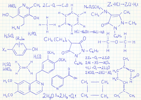 research science: Vector background with chemistry formulas and equations on notebook page Illustration