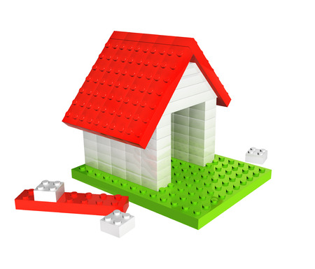 toy house: House from 3d plastic toy blocks. Isolated on white background
