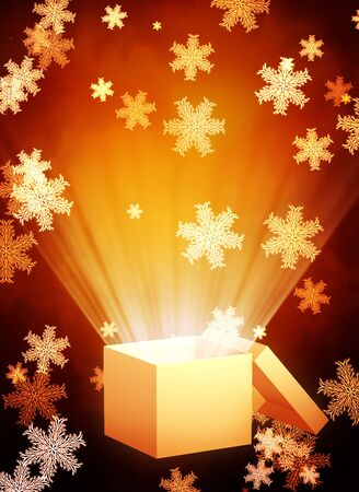 magic box: Vertical Christmas background with magic box and snowflakes