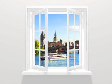 citytrip: Opened window and view on Charles bridge and Vltava river, Prague, Czech Republic Stock Photo