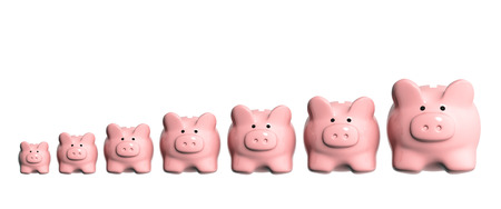 isolaten: Conceptual image - growth of the capital. Seven 3d piggy banks from different sizes arranged in a line. Isolaten on white background