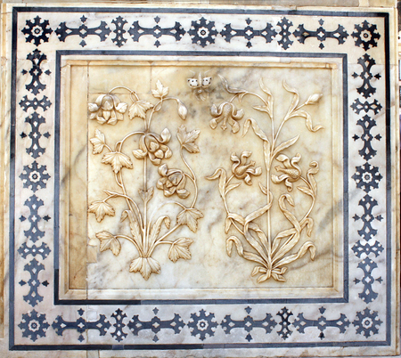 craft on marble: Ancient carved flower on marble in Amber Fort near Jaipur, Rajasthan, India