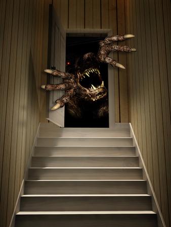 Monster in open door. 3d render