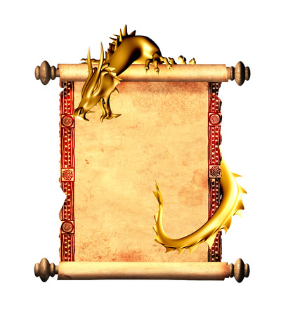 japanese dragon: Dragon and scroll of old parchment. Object isolated on white background