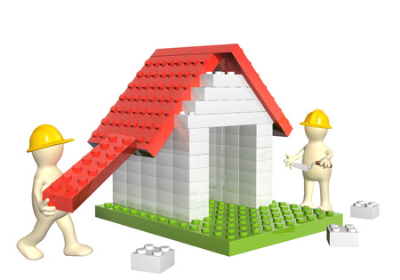 toy house: Two builders and house from 3d plastic toy blocks. Isolated on white background