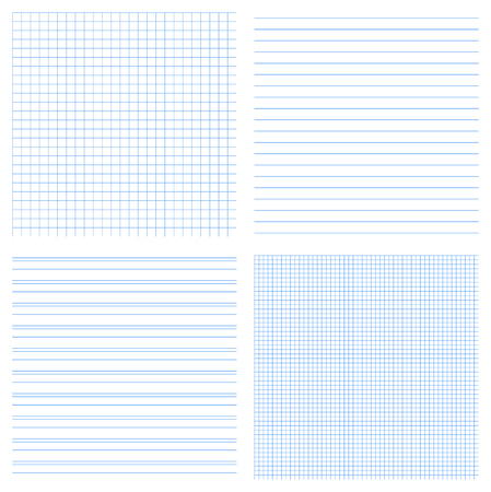 notebook design: Set of 4 vector of seamless textures of notebook pages. Can be used for education design