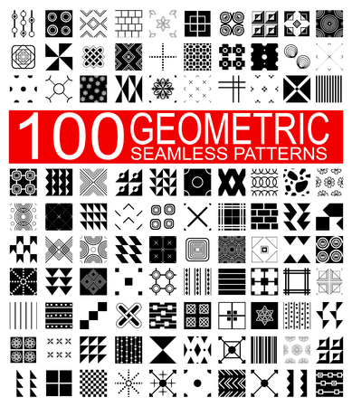 hundred: Set of 100 different vector geometric seamless patterns (tiling) of black and white color. Endless texture can be used for pattern fills, web page background, surface and textile textures, wallpaper