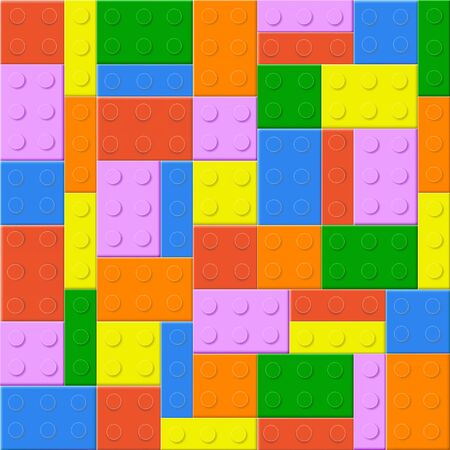 building bricks: Seamless background with plastic toy blocks of different colors