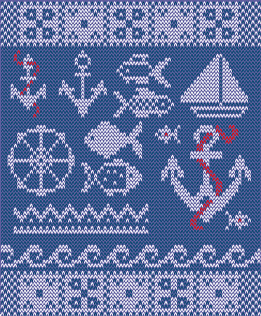 knitting: Vector knitting nautical collection -  anchors; ship, seamless waves patterns, fish, steering wheel