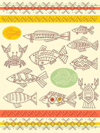 tench: Collection of vector ethnicity patterns with fish, crab and cancer
