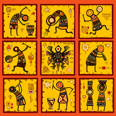 Collection of 9 patterns with African ethnic patterns of yellow, orange, black and red color
