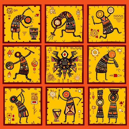 Verzameling van 9 patronen met Afrikaanse etnische patronen van geel, oranje, zwart en rood kleur Stock Illustratie