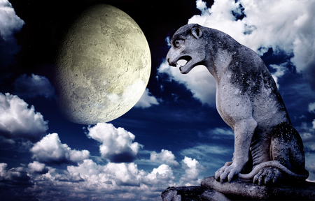 chimera: Ancient lion statue and bright moon in the night sky. Elements of this image furnished by NASA Stock Photo