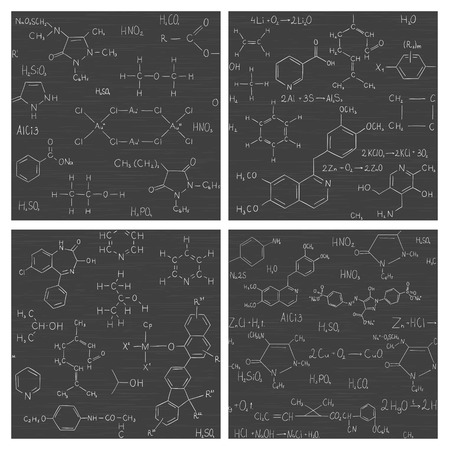 scientific: Collection of seamless vector backgrounds with chemistry formulas and equations on school board. Endless texture can be used for education or science design, wallpaper, pattern fills, web page background, surface textures Illustration