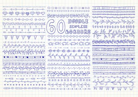 cobranza: Conjunto de fronteras 60 vector sin costura en el estilo de dibujo (incluidos los corazones, flores, flechas, el pescado, la hiedra, banderas y elementos geométricos). Puede ser utilizado para doodle del o dibujado a mano Vectores