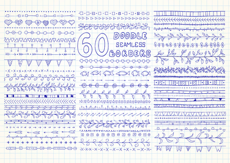 divide: Set of 60 vector seamless borders in doodle style (included hearts, flowers, arrows, fish, ivy, flags and geometric elements). Can be used for doodle or hand drawn design