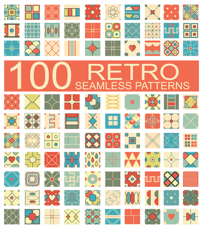 hundred: Set of 100 retro different vector geometric seamless patterns (tiling) of blue, orange, red, ivory, pink and green colors. Endless texture can be used for pattern fills, web page background, surface and textile textures, wallpaper