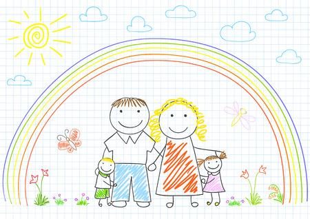 mom dad: Feliz familia - madre, padre y dos hijos. Boceto en la página portátil