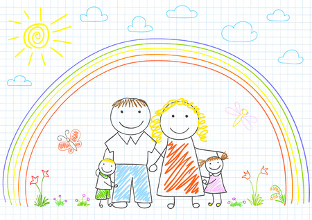 notebook page: Happy family - mom, dad and two children. Sketch on notebook page Illustration