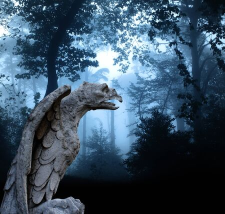 gargoyle: Ancient eagle statue and mysterious landscape of foggy forest