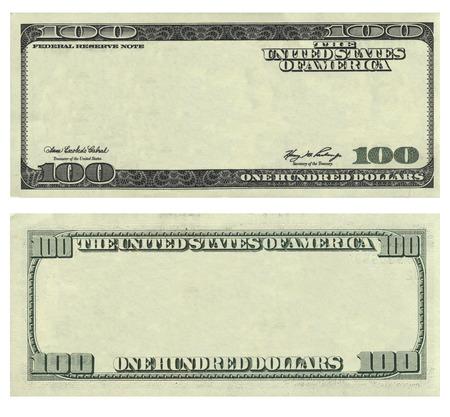 dollaro: Cancella 100 USA modello banconota da un dollaro isolato su sfondo bianco. Può essere utilizzato per la progettazione di business.