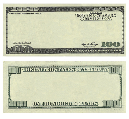Clear 100 USA dollar banknote pattern isolated on white background. Can be used for business design.