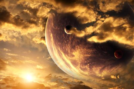 Zonsondergang in storm hemel en vreemde planeet